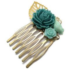 Something Blue Flower Hair Comb-Floral Hair Comb-Wedding Hair Clips-Bridal Bobby Pins-Bridesmaid Gift-Hair Accessory-Golden Comb-Mothers Day Resin Flowers, Flowers In Hair, Blue Flowers, Wedding List, Dream Wedding, Wedding Hair Clips, Floral Hair, Something Blue, Hair Accessory