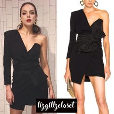 Fallon Carrington wears this Alexandre Vauthier one-shouldered dress on Dynasty season 1