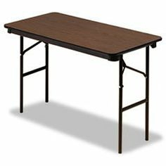 """Economy Wood Laminate Folding Table, Rectangular, 48w x 24d, Walnut by Iceberg. $136.39. 5/8"""" particle board top features a walnut woodgrain melamine finish. Wear- and scratch-resistant for years of dependable use. Melamine sealed underside. Steel support skirt. Bullnose, vinyl T-molded edge. 1"""" diameter steel legs with protective foot cap. Top Color: Walnut; Base Color: Brown; Top Shape: Rectangular."""