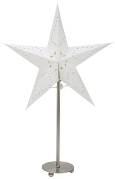 Bordsstjärna, Stilig adventsstjärna med metallfot, vit, 3502370