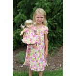 Short Sleeve White and Pink Flower Nightgown Matching for Girl and American Girl or Bitty Baby Doll $36.00 www.weeline.com
