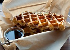 Cheddar Bacon Waffles - A Tillamook Cheese Recipes Waffle Recipes, Cheese Recipes, Brunch Recipes, Breakfast Recipes, Brunch Dishes, Brunch Menu, Breakfast Club, Bacon Waffles, Pancakes And Waffles