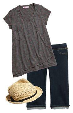 Fedora,I Heart Pinc Top & Tractor Bermuda Shorts...cute for a little girl
