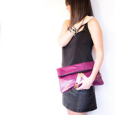 Oversized Leather Clutch // Gold Art Deco Purse by gmaloudesigns