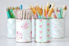 8 Clever Storage Hacks That'll Make Your Home Look Chic - Craftsonfire Desk Organization Diy, Diy Desk, Organising, Cute Crafts, Diy Crafts, Recycle Cans, Pencil Cup, Storage Hacks, Home Made Soap