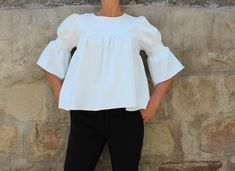 NOUVEAU White Maxi Top top top à volants blouse à volants
