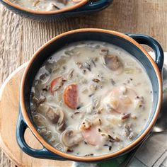 Wild Rice Mushroom Soup Recipe -I think mushrooms often get used only as a seasoning or added flavor, but I think they are delicious enough to be the main part of a meal. This recipe uses a large quantity of mushrooms and the result is delicious. Even though this contains some dairy, it freezes quite well! —Wendy Campbell, New Wilmington, Pennsylvania