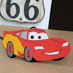 Lightning McQueen Car Air Freshener, going to make this! Great to hang in little ones closets :)