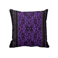 Purple with Black Lace Throw Pillow