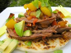 Arepa con Carne Desmechada - Arepa with Shredded Meat