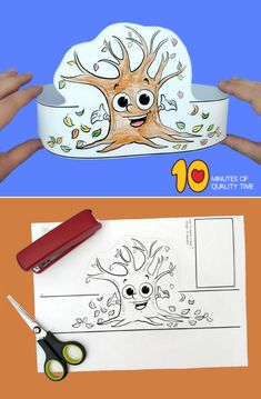Autumn Tree Paper Crown - Gardening for beginners and gardening ideas tips kids Crown Printable, Printable Crafts, Fall Crafts For Kids, Crafts For Girls, Autumn Doodles, Tree Coloring Page, First Fathers Day Gifts, Paper Crowns, Paper Tree