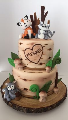 Woodland Baby, Baby Shower Cakes, Birthday Cake, Desserts, Food, Cakes Baby Showers, Tailgate Desserts, Birthday Cakes, Meal