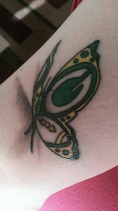 Butterfly tattoo celebrating my Green Bay Packers