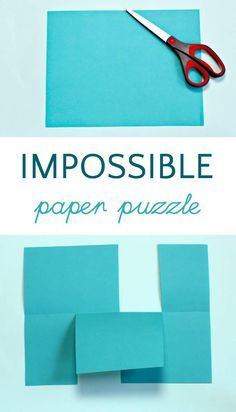 The Impossible paper puzzle is such a cool paper trick that kids can do. A topology activity that's fun for math learning Stem Activities, Activities For Kids, Elderly Activities, Dementia Activities, Physical Activities, Pen And Paper Games, Brain Teasers For Kids, Logic Puzzles, Number Puzzles
