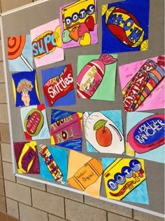 """Pop Art Candy Paintings. Tempera paint and black Sharpie outlines added emphasis and strong lines. The 12"""" x12"""" paper created a cropped effect  Gr.8"""