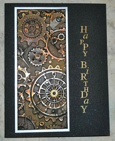 this card from Inky Fingers: EPSAI metal. Dry embossed metal was covered with gesso then painted with alcohol ink.Love this card from Inky Fingers: EPSAI metal. Dry embossed metal was covered with gesso then painted with alcohol ink. Masculine Birthday Cards, Birthday Cards For Men, Masculine Cards, Happy Birthday, Steampunk Cards, Boy Cards, Men's Cards, Embossed Cards, Fathers Day Cards