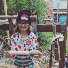 And she made a Guiro to show off at school. #craftforkids #woodturning #greenwoodwork #greenwood #aptgw #stovelldesign