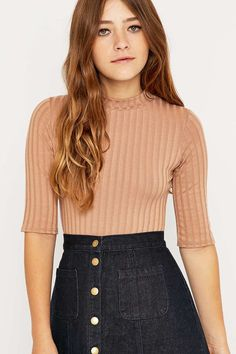 Urban Outfitters Half-Sleeve Crew Neck Bodycon Top
