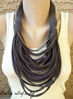 Bella Infinity Beaded Scarf - Up-Cycled Jersey Fabric Bead Silver Chic - Handmade Crafts by Bella Infinity Scarves  Accessories LLC