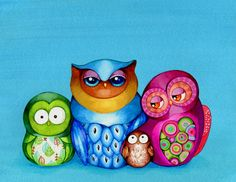 Owl Family Portrait - Colorful Wall Art Illustration - Family Painting - Mom Dad Baby Kids