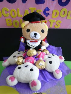 Rilakkuma plush doll flower bouquet with Ferrero by LoveUBouquets
