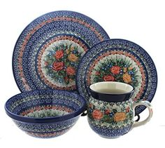 Polish Pottery Crimson Roses 4Piece Dinner Set -- Check this awesome product by going to the link at the image.