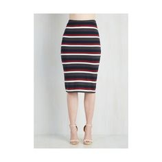 ModCloth Vintage Inspired Mid-length Pencil Subsequently Chic Skirt by... ($45) ❤ liked on Polyvore featuring skirts, apparel, bottoms, multi, mid length pencil skirt, stripe skirt, pencil skirt, vintage style skirts and mid length skirts