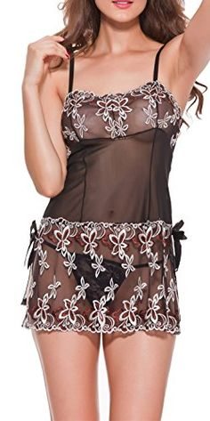 Blidece Women Sexy Lace Through Bow Lingerie Embroidery Babydoll Outfits Chemises Black L ** Check this awesome product by going to the link at the image.