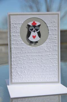 Handmade Stampin' Up Get Well Soon or Nurses Week Nurse Owl Greeting Card with Matching Envelope