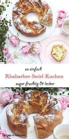 Dieses Rhabarber-Swirl-Kuchen-Rezept ist genau wie bei Oma! Es ist das perfekte fruchtige Kuchenrezept mit seiner süßen und frischem Rhabarber Füllung und passt wunderbar zu einer Tasse Kaffee oder Tee! #rhabarberrezepte #rhabarberkuchen #deutsch #leicht #einfach #deutsch #rezepte