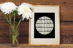 Poster Print 8x10 or 11x14  La Luna  Full Moon by PomGraphicDesign, $17.00 #homedecor #decor #decorideas #interiordesign #minimal #minimaldecor #fullmoon #blackandwhite #moon #illustration