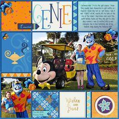 Layout by Heather. Tourist Genie at Princess Half Marathon at WDW. Credits: Genie Wishes Bundle By Dream Big Designs. Love Pockets Templates by Crossbone Cuts