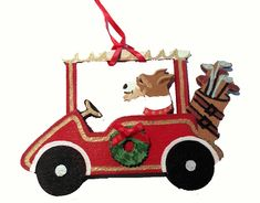 """Dogs on The Move"" Golf Cart Dog Wood 3-D Hand Painted Ornament - Wire Haired Fox Terrier"