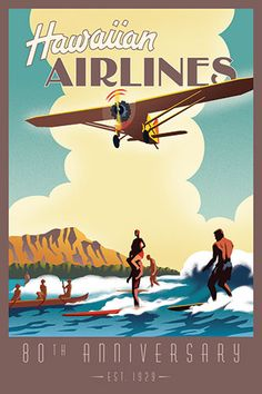 """""""Oahu Surf"""" Vintage Poster This vintage poster came back into stock. THANK YOU Hawaiian Airlines! Hawaii Vintage, Vintage Surf, Vintage Hawaiian, Vintage Travel Posters, Vintage Postcards, Vintage Advertisements, Vintage Ads, Vintage Airline, Party Vintage"""
