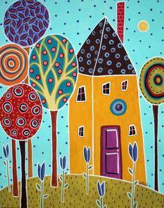 RUG HOOKING PAPER PATTERN Blue Tulips Folk Art Karla G   eBay