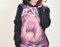 Get Scared Everyone's Out to Get Me Punk Rock Hoodie Jacket Biker Sweater Tops Women Girl Sz S,M,L