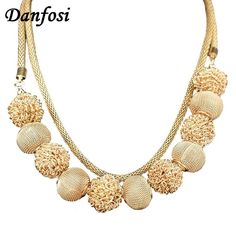 Danfosi Multilayers Chain Metal Ball Pendant Necklace Women Charm Jewelry Fashion Accessories Choker 2017 Statement Necklaces