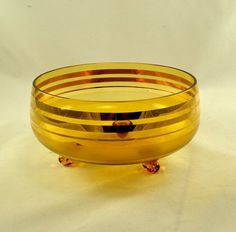 Amber Glass Footed Bowl  Empoli Italy  Tri by ChicMouseVintage