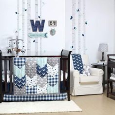 The Peanut Shell Woodland Trails 4-Piece Crib Bedding Set. #cribset #nursery #babyshowerideas #babyroom #afflnk