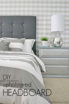 DIY Upholstered Headboard with a High End Look! We were able to create this beautiful headboard for the master bedroom for way less and no sewing was involved!