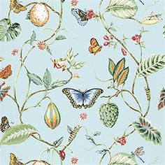 Thibaut Signature Prints - Lillian - Fabric - Blue with butterflies wallpaper
