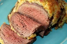 Mustard and Leek Encrusted Tenderloin from www.GlutenFreeAnn...