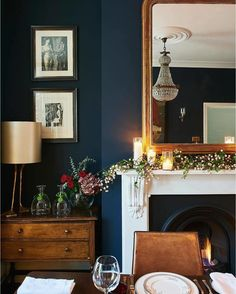 Deep Blue Walls (in Basalt Absolute Matt Emulsion) Make A Good Foil For  Brown Furniture, Adding A Refreshing Twist To A Traditional Table Setting.