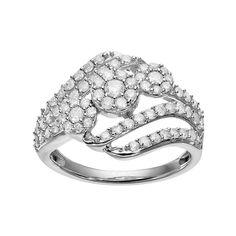 10k White Gold 1 Carat T.W. Diamond Cluster Bypass Ring, Women's, Size: 6