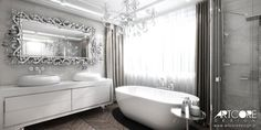 Luxury bathroom interior design. Beautiful mirror and freestanding bathtub. Luxury residence interiors.