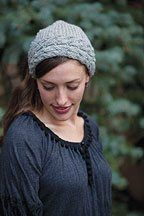 """Download Now Easy women's garter stitch kerchief with a cabled band. Designer Lisa Shroyer Finished Size 19"""" circumference; to fit adult medium to large head; 8"""" deep from edge of band to point of triangle. Yarn Brown Sheep Lanaloft Worsted (100% wool; 160 yd [147 m]/ 100 g): #LL33 manor gray, 1 ball. Needles Size …"""
