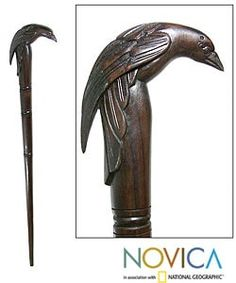 Wooden Raven Walking Stick (Indonesia) | Overstock.com Shopping - The Best Deals on Accent Pieces