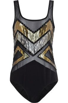 JETS by Jessika Allen White Label Decadence embellished mesh swimsuit   THE OUTNET