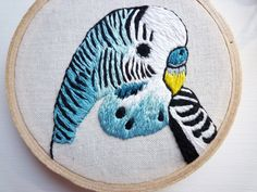 3inch Bird Art 'Blue Budgie' Modern by CheeseBeforeBedtime on Etsy