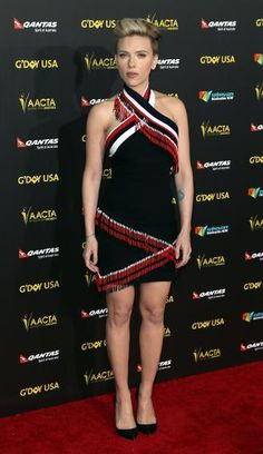 Scarlett Johansson in Preen |  Love the dress, but kind of reminds me of SNL's Spartan Cheerleaders....